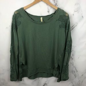Free People Green Lace Detail Sweater